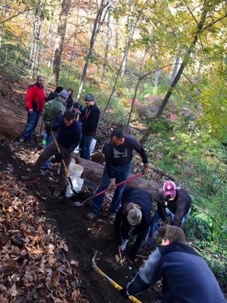 At work on the Soapstone Valley Trail in mid-November. (photo courtesy of the Rock Creek Crew of the Potomac Appalachian Trail Club)