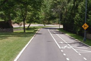 Tilden Street's eastbound bike lane is a blast to ride down. The uphill eastbound lane... not so much. (image courtesy of Google Street View)