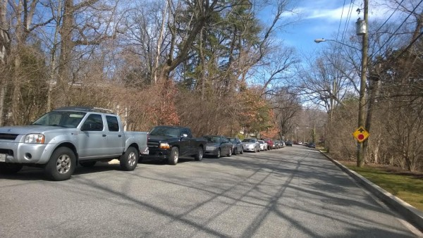 These vehicles are parked on the unzoned side of the 2800 block of Albemarle Street.