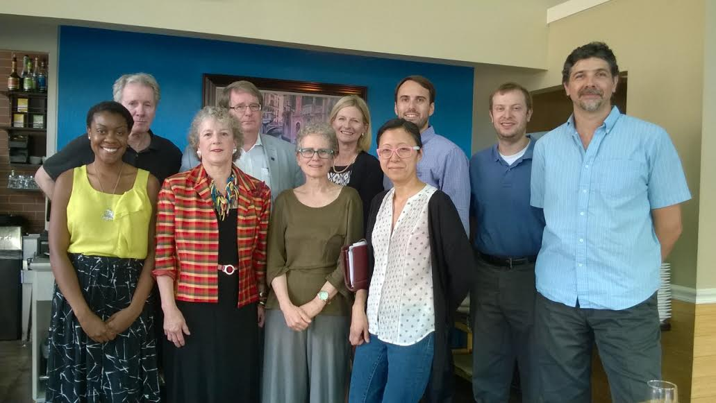 The charter board of Van Ness Main Streets, Inc.  Back row, left to right: Larry Rausch, Charles Schilke, Mary Beth Ray, Zach Friedlis, Adam Tope and Uzay Turker Front row: Benae Mosby, Sally Gresham, Marlene Berlin, Eun Yim