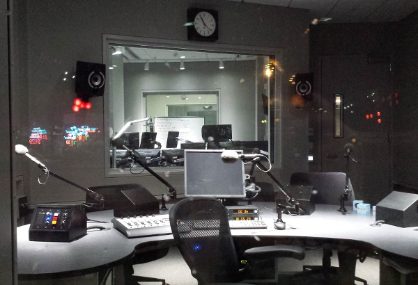 On-air studio with plenty of room for guests.