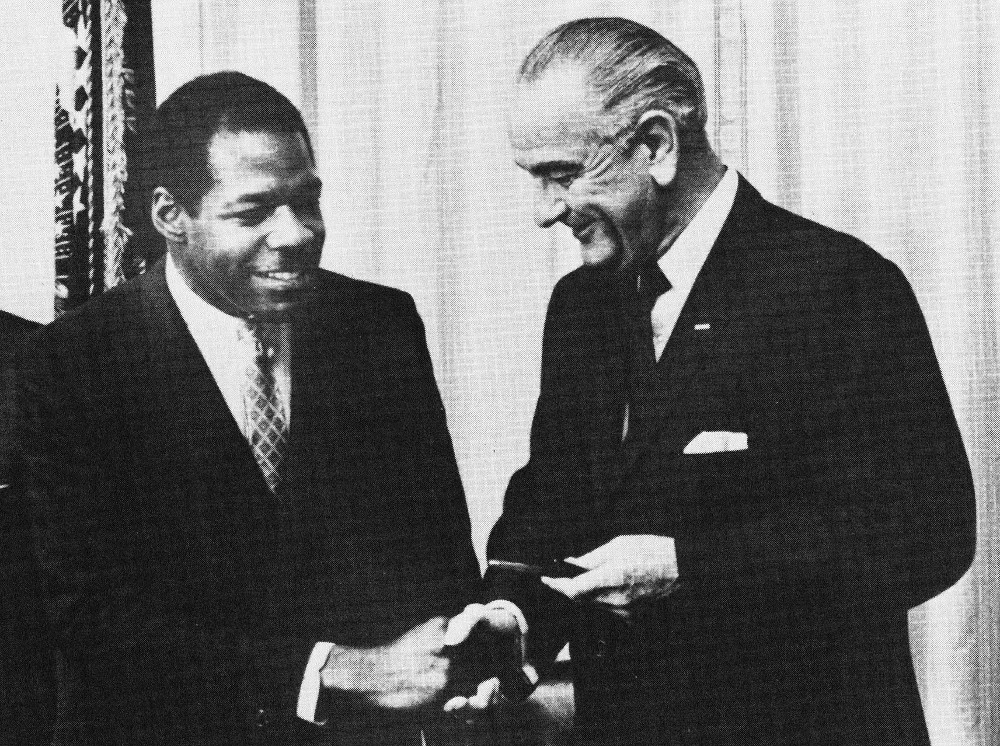 President Dennard and President Johnson, 1968. (photo from HBCU Library Alliance)
