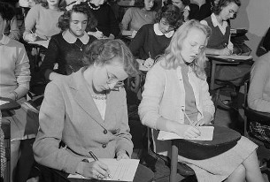 Wilson students taking a test in 1943. (photo courtesy of loc.gov)
