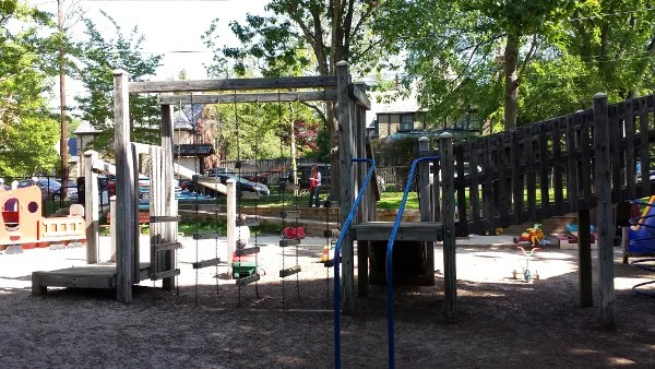 The larger of the playground's two climbing structures.