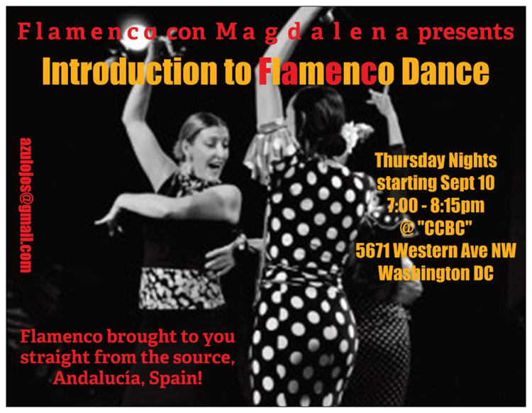 La Magdalena, left, is bringing her 20+ years of experience teaching and performing Flamenco to DC.
