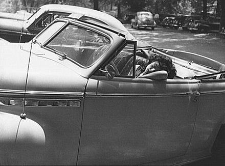 Sleeping in a car on Sunday in Rock Creek Park, 1942. (photo by Marjory Collins, courtesy of Wikimedia Commons)