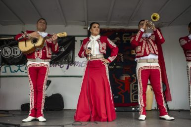 Mariachi Michiocana performs during the first annual Hispanic Heritage Month celebration at Constitution Court on Madison St. | Alex Rogals/Staff Photographer