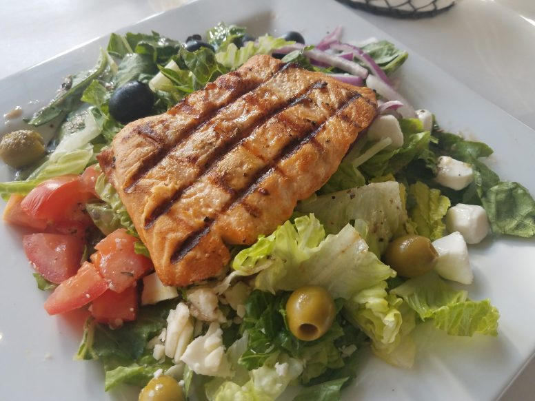 Salmon Salad: A menu newcomer, the salmon salad from Jim and Pete's is a hit among patrons. Credit Melissa Elsmo.