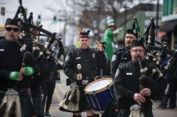 Performers play the bagpipes and drums on Saturday, March 2 during the annual St. Patrick's Day Parade. | Alex Rogals/Staff Photographer
