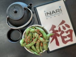 Edamame: Twisting tradition, Inari offers edamame with garlic (Photo credit Melissa Elsmo)