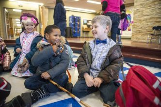 Kameron Moore, left, and A.J. Scolaro, both in first grade, laugh and joke about each others outfits on Friday, Jan. 31, 2020, at Betsy Ross Elementary School.