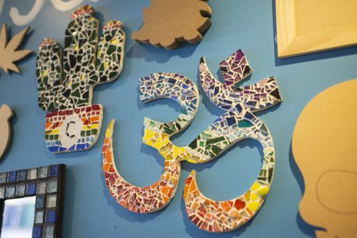 Examples of mosaic tile art-work at Creativita, 7512 Madison St. | Alex Rogals, Staff Photographer