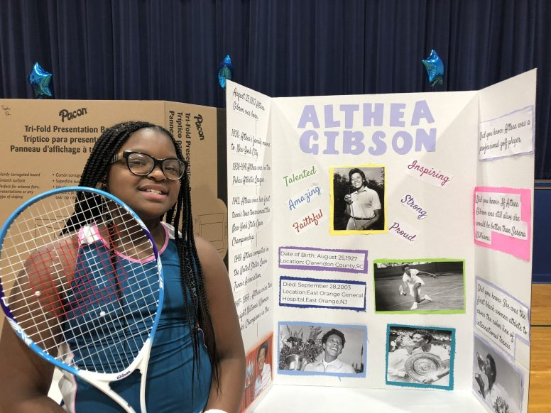 Grant-White student Kennedi Anthony represented tennis player and professional golfer Althea Gibson, the first African American to win the Grand Slam title. The presentation was part of the school's Black History Month celebration on Feb. 12. | Photo provided