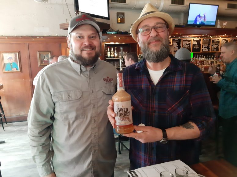 Greg Stinton (left) of Small Batch Barbecue and Joe Sullivan of Duffy's Tavern collaborated on a whiskey and barbecue pairing event on March 1 at Duffy's, 7514 Madison St.
