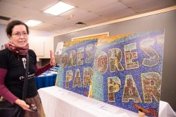 A total of 18,000 pieces of trash from Forest Park is turned into a mural on display from the Science Art and Trash Project. | SHANEL ROMAIN/Contributor