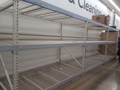 Walmart, 1300 Desplaines Ave., was completely out of toilet paper on March 12. Hand sanitizer and bleach were also sold out. | Maria Maxham