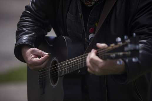 Jon Langford played live from Forest Home Cemetery as part of the Historical Society of Forest Park's virtual tour of the Haymarket Monument. | Alex Rogals, Staff Photographer