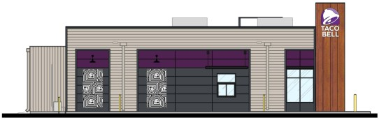 East elevation rendering of the proposed Taco Bell at 161 Harlem Ave. | Drawing by MRV Architects, Inc.