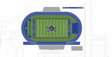 A rendering of the proposed football field at Proviso East, scheduled for completion in 2021. | Perkins and Will