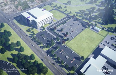 This rendering from Perkins & Will shows what the new Proviso Math and Science Academy parking lot will look like. The projected is expected to be finished in December.
