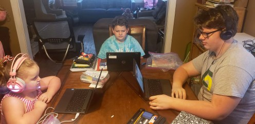 District 91 students, including Amelia (Kindergarten), Kaleb (4th grade, and Quinten (8th grade), have started the school year remotely. | Photo provided