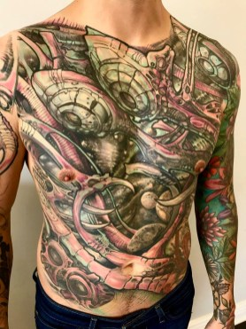 Tattoo artist Taichi Matsumoto's front piece was done by Skin Abrasions owner Marco Velazquez.   Photo provided
