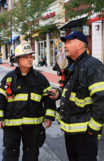 Bob McDermott (left) as deputy chief and Steve Glinke as chief after the Skrine Chops fire in 2011. | Photo provided
