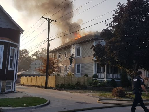 A fire broke out on the second floor of a two-flat at 1133 Elgin Ave. on Sept. 17 around 5:30 p.m. | Maria Maxham/Editor
