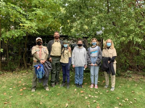 Troop 4107G at a hike on Oct. 3. From left: Petek Arikan-Demirtas, Doug Herlihy, Eleanor Herlihy, Lily Kelly, Cassidy Brown, Brenda Rakers. | Photo provided