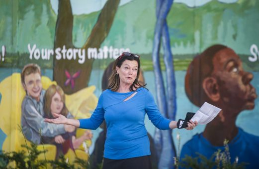 River Forest President Cathy Adduci speaks about Sarah's Inn at the 40th anniversary kick off celebration and mural unveiling. | Alex Rogals, Staff Photographer