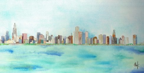 Skyline off Lake Michigan is one of Heather Kadlec's original paintings, which often inspire her fashion designs. | Photo provided
