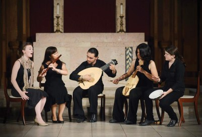 Osterlund, second from right, plays indoors with the Ensemble Musica Humana.Photo courtesy GREG SAULMON