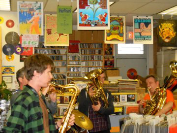 It's a record: World music group Black Bear Combo performed at The Old School Records on Saturday during National Record Store Day.Courtesy: The Old School Records