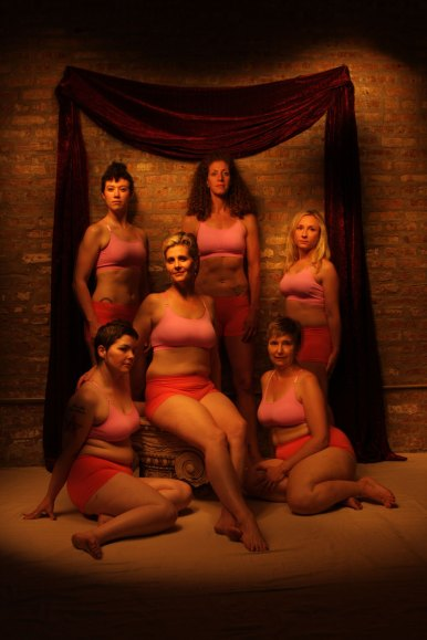 Coaches from Oak Park's Derby Lite pose for a light portrait. (Clockwise) Foxy Balboa, Li'l Mo Peep, New York Doll, Queen B, Mimi Furst and Smaxl Rose.
