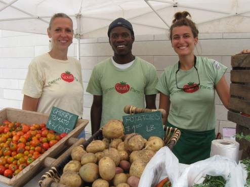 Gloria Backman at the Green Youth Farm farmer's market with Derrick Smith and Sarah Pekovitch.Photos by JACKIE SCHULZ/Contributor