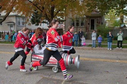 The team of Meghan Wais, Katie Hooker, Ellen Brooks, Marjory McMahon and Molly Hanrahan honored the Stanley Cup champion Chicago Blackhawks for their entry in the Casket Races.