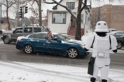 A passenger traveling in a car down Des Plaines Avenue was quick with her cellphone camera to photograph this Star Wars storm trouper outside the Forest Park Public Library. (David Pierini/staff photographer)