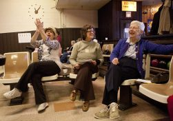 Scores rise and fall but fun and camaraderie are continuous among the bowlers of the Early Birds. Here, Lori Marchi, left, Judy Gaietto and Donna Stephens cheer on another bowler. (DAVID PIERINI/Staff Photographer)