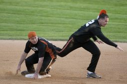 Rewind's Russ Delude is out at second. (David Pierini/staff photographer)