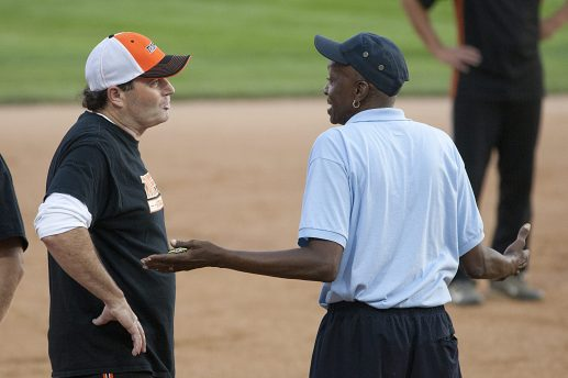 A member of traffic disputes an umpire's call. (David Pierini/staff photographer)