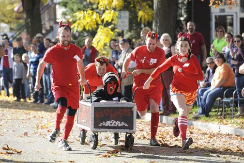 The Hell on Wheels team ran devilishly quick in the 3rd Annual Forest Park Casket Races, Oct. 25. (Photo by Jennifer Wolfe)
