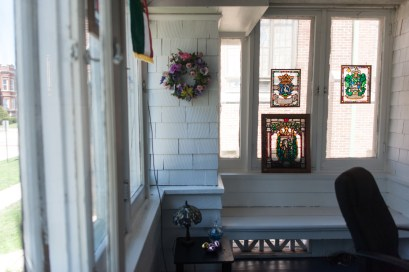 Rev. Dean Kucera's stained glass artwork hangs in his house in Forest Park. | William Camargo/Contributor