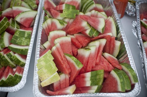 Trays of watermelon were part of lunch treats for the kids. | William Camargo/Staff Photographer