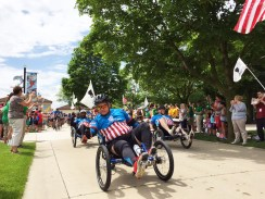 Recumbent bikers complete the ride at Brookfield Zoo. | Bob Uphues/Staff