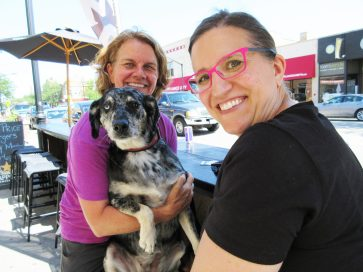 Nancy Pavlak and Allison Beltraini with Stella the dog. | JACKIE SCHULZ/Contributor