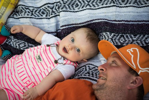 Matt Brennan and his daughter, Caoimhe, relax in the outfield seating | MAX HERMAN/Contributor
