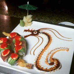 One of our popular dragon makis crafted by our talented chefs using our in house sauces.