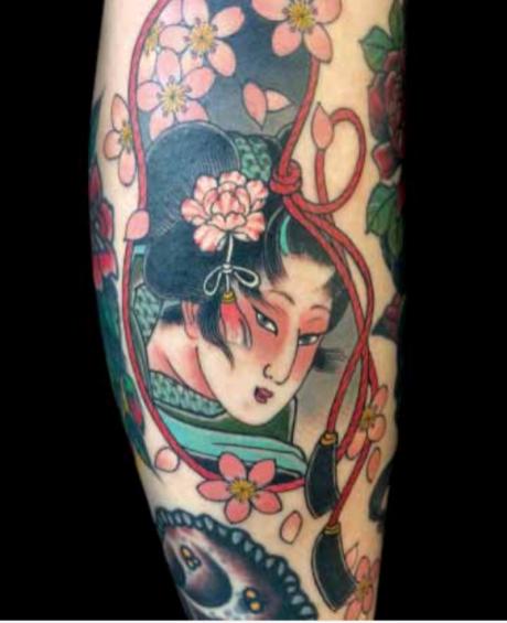 Geisha vignette with cherry blossoms. | Courtesy Claudia de Sabe