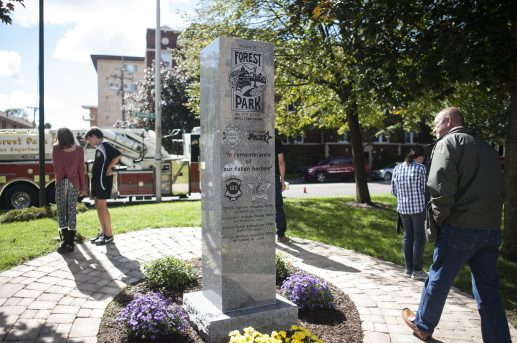 Memorial recalling fallen Forest Park police officers and firefighter was dedicated on Sept. 19 at the new Remembrance Park on Randolph. | William Camargo/Staff Photographer