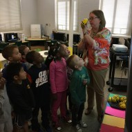Kindergarten students see the BeeBots for the first time.